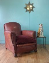 French leather club lounge chair - SOLD